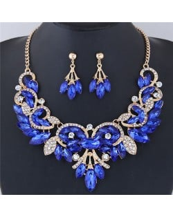 Resin Gems Embellished Glistening Floral and Vine Style Costume Necklace and Earrings Set - Blue