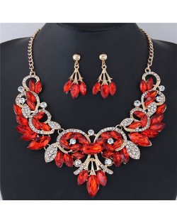 Resin Gems Embellished Glistening Floral and Vine Style Costume Necklace and Earrings Set - Red