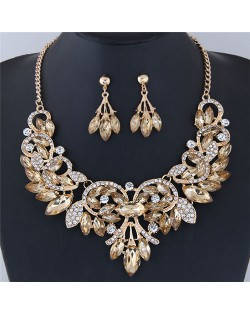 Resin Gems Embellished Glistening Floral and Vine Style Costume Necklace and Earrings Set - Champagne