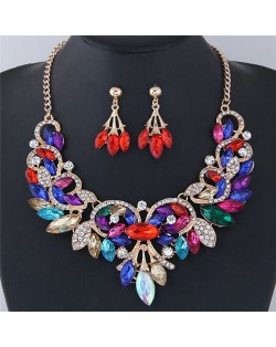 Resin Gems Embellished Glistening Floral and Vine Style Costume Necklace and Earrings Set - Multicolor
