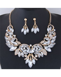 Resin Gems Embellished Glistening Floral and Vine Style Costume Necklace and Earrings Set - Transparent
