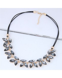 Resin Gem Leaves Shining Fashion Rope Costume Necklace - Gray