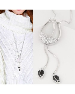 Czech Rhinestone and Opal Inlaid Tulip Fashion Long Style Costume Necklace