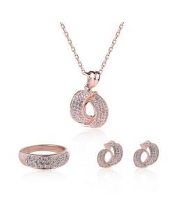 Rhinestone Embellished Shining Revolving Fashion Necklace Earrings and Ring Set