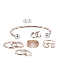 Pearl Fashion Assorted Rings Earrings and Bracelet 9 pcs Costume Jewelry Set