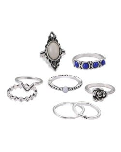 Gem Inlaid 8 pcs Vintage Rings Combo Jewelry Set