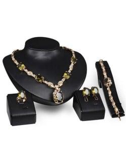 Gem Embellished Luxurious Design 4 pcs Fashion Jewelry Set