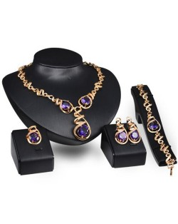 Gem Inlaid Vine Design Chain Luxurious Style 4 pcs Fashion Jewelry Set - Purple