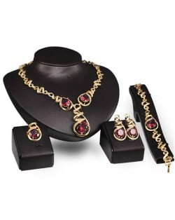 Gem Inlaid Vine Design Chain Luxurious Style 4 pcs Fashion Jewelry Set - Red