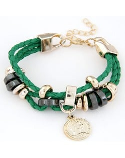 Korean Fashion Princess Coin Pendant Weaving Rope Bracelet - Green