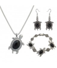 Artificial Turquoise Embellished Turtles Design 3pcs Fashion Jewelry Set - Black
