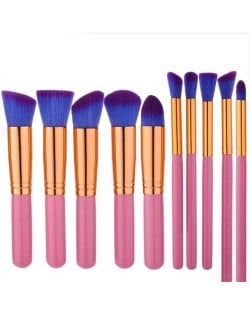 10 pcs Golden Pipes Pink Handle High Fashion Makeup Brushes