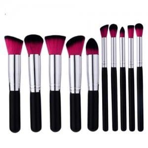 10 pcs Silver Pipes Black Handle Short Fashion Makeup Brushes