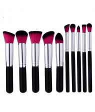 10 pcs Silver Pipes Black Handle Short Fashion Makeup Brushes