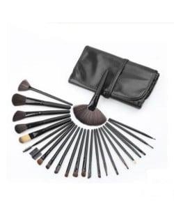 24 pcs Mini Fashion Cosmetic Makeup Brushes Set - Black
