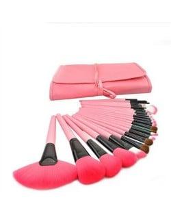 24 pcs Mini Fashion Cosmetic Makeup Brushes Set - Pink
