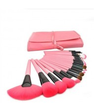 24 pcs Mini Fashion Cosmetic Makeup Brushes Set - Pink