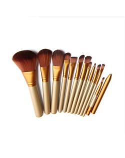 12 pcs Champagne Gold Pipe Brown Makeup Brushes Set