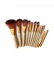12 pcs Champagne Gold Pipe Brown Makeup Brushes Set