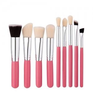 9 pcs Pinky Wooden Handle Fashion Makeup Brushes Set