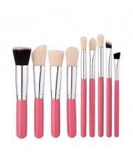9 pcs Pinky Wooden Handle Fashion Makeup Brushes Set