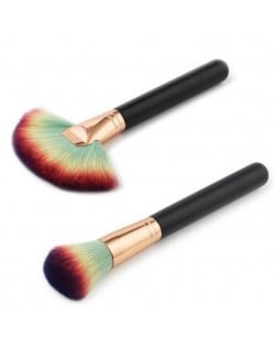 2 pcs Short Black Handle Gradiant Color Makeup Brushes Set