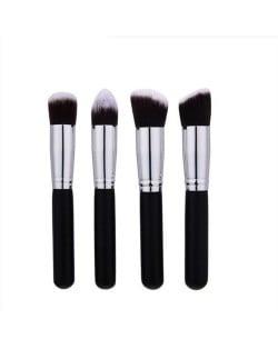 4 pcs Silver Piple Black Short Handle Design Cosmetic Makeup Brushes Set