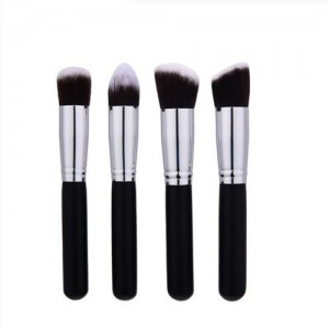 4 pcs Silver Piple Black Short Handle Design Cosmetic Makeup Brushes Set