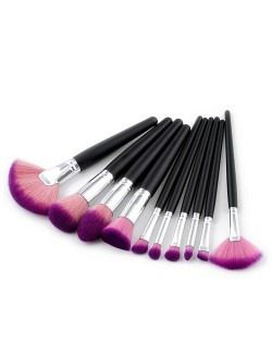 10 pcs Black Handle Gradiant Color High Fashion Cosmetic Makeup Brushes Set - Purple