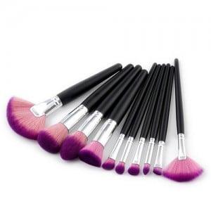 10 pcs Black Handle Gradiant Color High Fashion Cosmetic Makeup Brushes Set - Purple