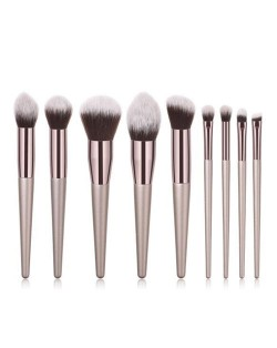 10 pcs Luxurious Style Champagne Gold Color Handle Fashion Makeup Brushes Set