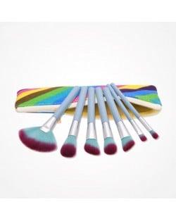 7 pcs Gradiant Color Blue Handle Fashion Cosmetic Makeup Brushes Set