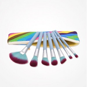 7 pcs Gradiant Color Blue Handle Fashion Cosmetic Makeup Brushes Set