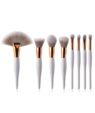 8 pcs Mini White Handle White and Gray Gradiant Color Fashion Makeup Brushes Set