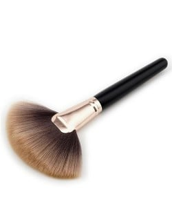 Black Wooden Handle Brown Fan-shape Fashion Makeup Brush