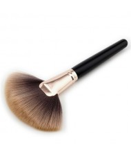 Black Wooden Handle Brown Fan-shape Fashion Makeup Brush