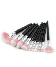 10 pcs Black Handle Gradiant Color High Fashion Cosmetic Makeup Brushes Set - Pink