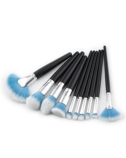 10 pcs Black Handle Gradiant Color High Fashion Cosmetic Makeup Brushes Set - Blue