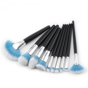 10 pcs Black Handle Gradiant Color High Fashion Cosmetic Makeup Brushes Set - Blue
