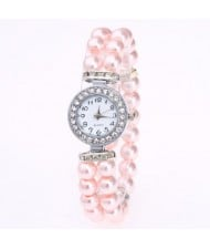 4 Colors Available Pearls Fashion Mini Index Design Women Wrist Watch