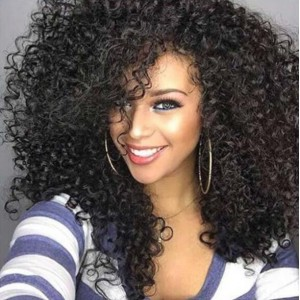 African Kinky Curly Color 1 Synthetic Wig