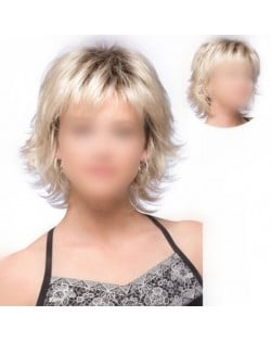 Fluffy Golden Color Straight Short High Fashion Women Synthetic Wig