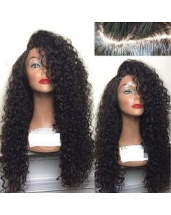 3 Colors Available Kinky Curly Long Hair Side Part High Fashion Women Synthetic Wig