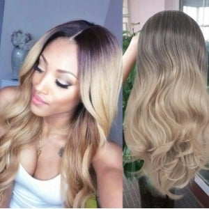 Black and Golden Gradient Color Body Wave Long Hair Middle Side Part Women Synthetic Wig