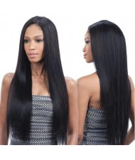 Natural Black Straight Long Hair Middle Side Part Women Synthetic Wig