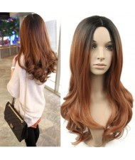2 Gradient Color Available Body Wave Long Hair Middle Side Part High Fashion Women Synthetic Wig