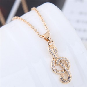 Cubic Zirconia Embellished Delicate Musical Note Pendant Fashion Necklace