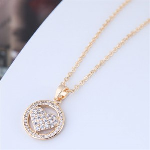 Cubic Zirconia Inlaid Heart Round Pendant High Fashion Statement Necklace