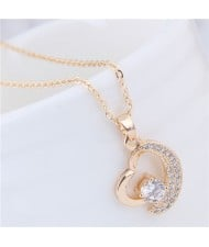 Cubic Zirconia Embellished Graceful Moon and Star Combined Heart Pendant Fashion Necklace