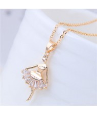 Cubic Zirconia Decorated Elegant Dancer Pendant Golden Fashion Necklace